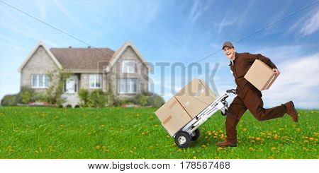 Delivery man with box running