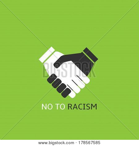 No to racism concept. Black and white hands