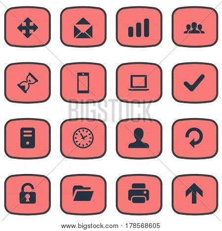 Vector Illustration Set Of Simple Application Icons. Elements Statistics, Upward Direction, Printout And Other Synonyms Upward, Extend And Timer.