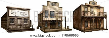 A selection of wild west buildings 3D illustration