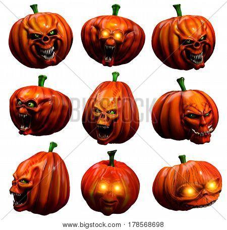 A group of Halloween horror pumpkins 3D illustration