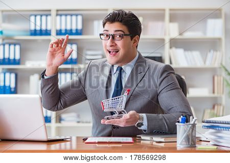 Businessman in online shopping concept