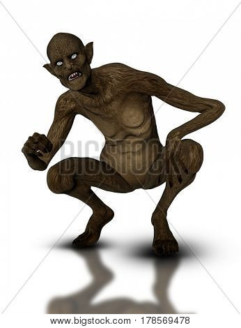 3D render of a crouching demonic creature