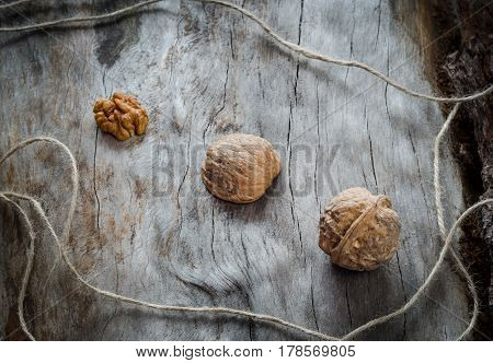 Walnuts On Aged Wood. Closeup