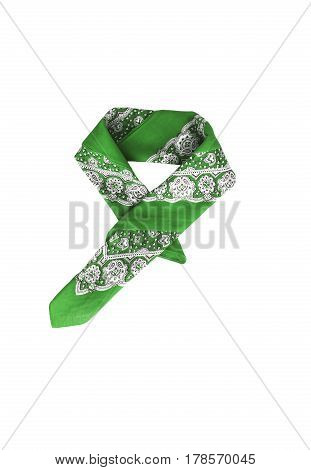 A Green Bandana With A Pattern, Isolated
