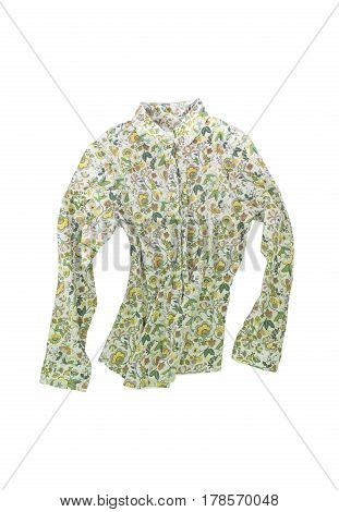 Female Shirt, Blouse With Bright Floral Pattern, Isolated On White Background