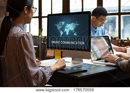 People connected to global communication online community by computer
