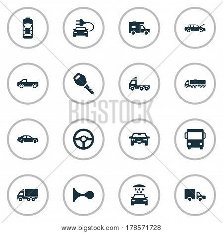 Vector Illustration Set Of Simple Automobile Icons. Elements Tour Bus, Haulage, Van And Other Synonyms Truck, Service And Shower.