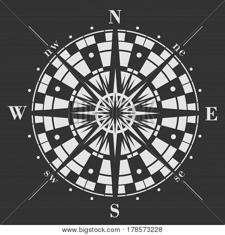 Wind rose icon on black background. Vector compass illustration.