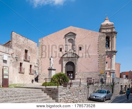 ERICE ITALY - SEPTEMBER 12 2015: The church of San Giuliano is one of the oldest places of worship Catholics of Erice province of Trapani in Sicily Italy