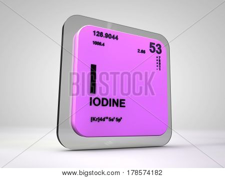 iodine - I - chemical element periodic table 3d render