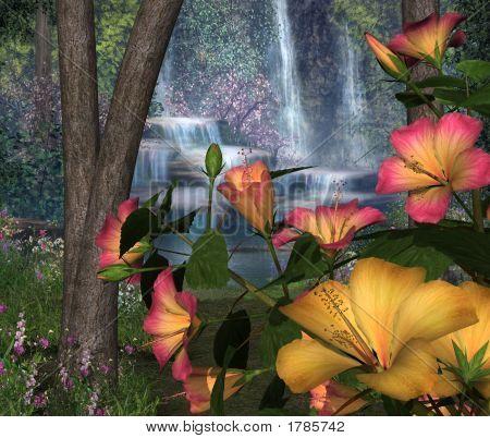 Hibiscus Flowers & Waterfalls