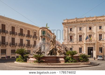 The Fountain On The Square Archimedes In Siracuse.