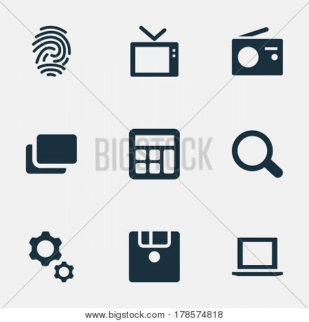 Vector Illustration Set Of Simple Device Icons. Elements Laptop, Television, Fingerprint And Other Synonyms Tuner, Files And Tools.