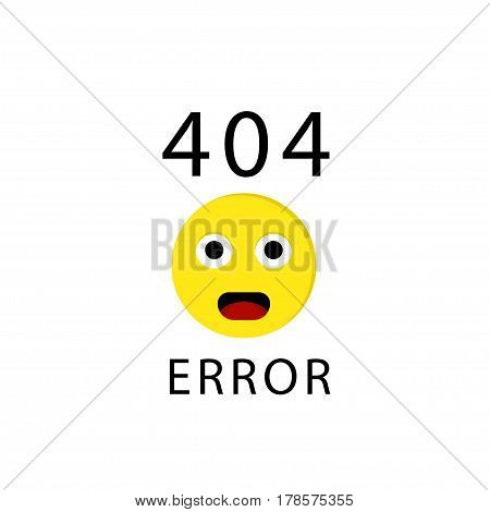 404 connection error with face emoticon or emoji. Sorry, page not found. Vector illustration on white background .
