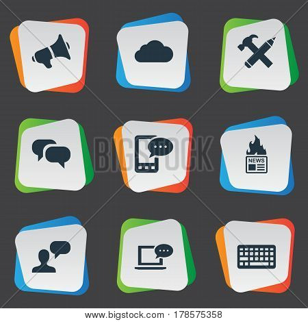 Vector Illustration Set Of Simple Blogging Icons. Elements Gazette, Loudspeaker, Repair And Other Synonyms Overcast, Keyboard And Coming.