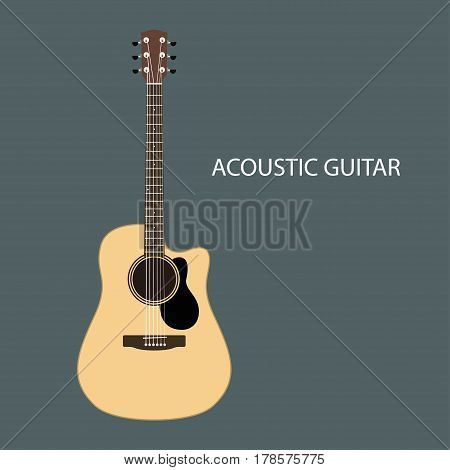 Acoustic guitars of the six-string guitar. Guitar isolated. Vector illustration.