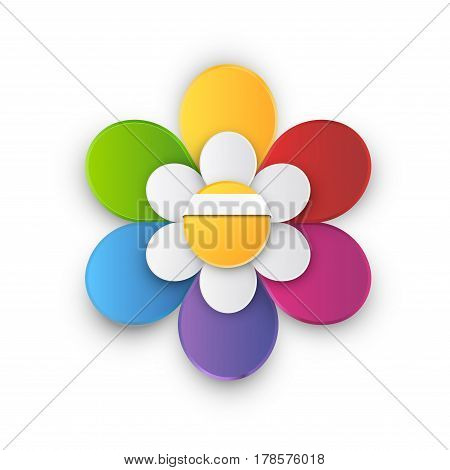 Flower style infographic 6 leaf rainbow colored chart, options or menu, vector template for workflow layouts, presentation and web design