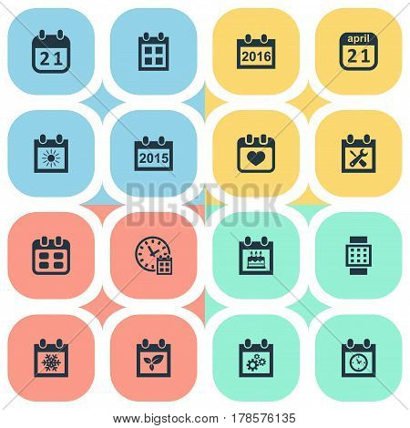 Vector Illustration Set Of Simple Plan Icons. Elements Agenda, Annual, Intelligent Hour And Other Synonyms Sun, Heart And Day.