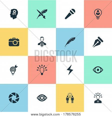 Vector Illustration Set Of Simple Visual Art Icons. Elements Plume, Mentality, Concentration And Other Synonyms Digital, Aperture And Electricity.