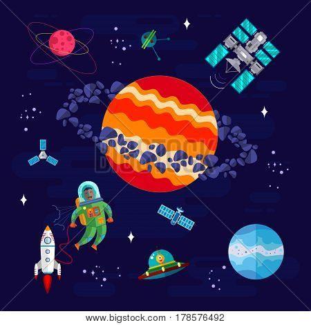 Space Astronaut and different Research elements with Spaceship Ufo and Planets. Vector Flat illustration.