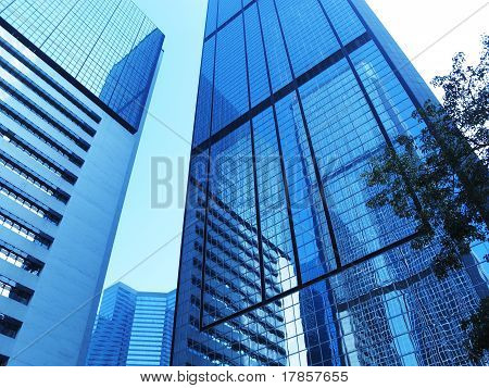 corporate buildings with reflections