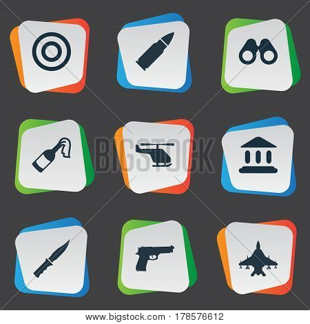 Vector Illustration Set Of Simple Battle Icons. Elements Molotov, Pistol, Cold Weapon And Other Synonyms Plane, Gun And Arm.