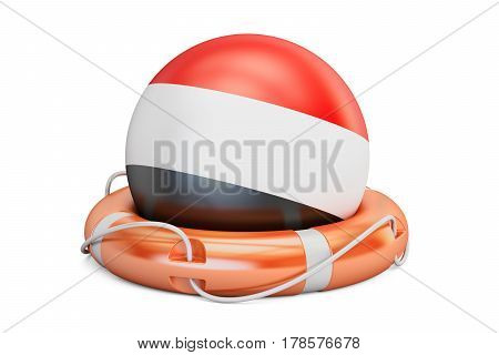 Lifebelt with Yemen flag safe help and protect concept. 3D rendering