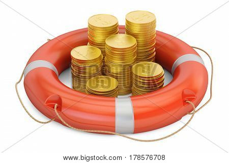 Lifebuoy with golden dollar coins 3D rendering isolated on white background