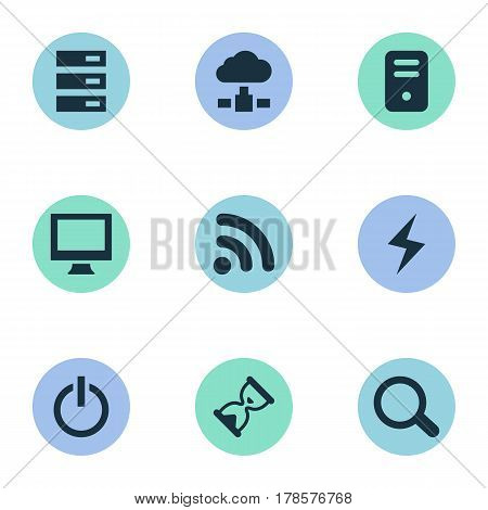 Vector Illustration Set Of Simple Laptop Icons. Elements Magnifier, Data Center, Wave And Other Synonyms Wireless, Screen And Charge.