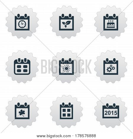 Vector Illustration Set Of Simple Calendar Icons. Elements Special Day, Almanac, Plant And Other Synonyms Special, Calendar And Sun.