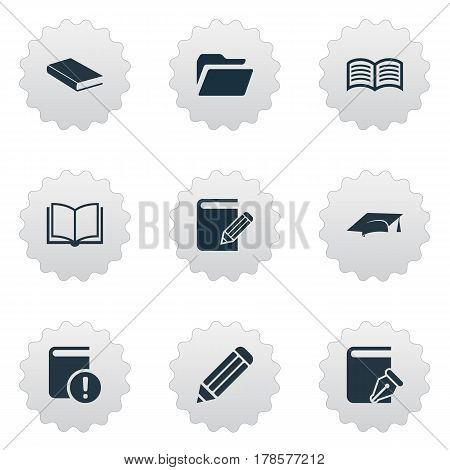 Vector Illustration Set Of Simple Books Icons. Elements Important Reading, Folder, Love Affair And Other Synonyms Sketchbook, Education And Blank.