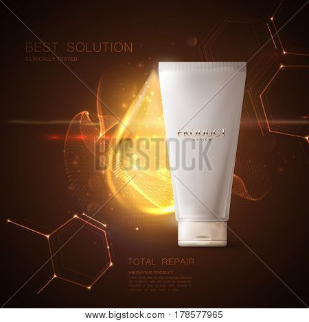 Cosmetics product ads poster template. Cosmetic mockup design. Cream tube package. 3d vector illustration. Lifting cream tube with droplet and shiny particles. Beauty package mock-up