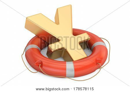 Lifebuoy with golden yen or yuan symbol 3D rendering isolated on white background