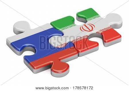 Russia and Iran puzzles from flags 3D rendering isolated on white background
