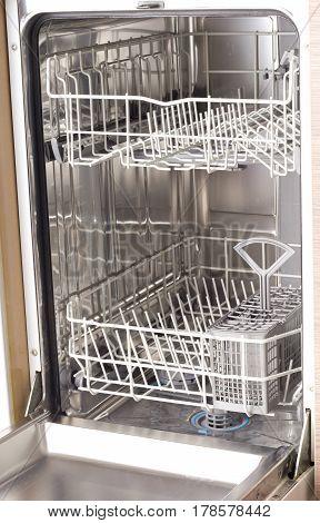 Empty Dishwasher In Kitchen