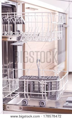 Empty Dishwasher From Side