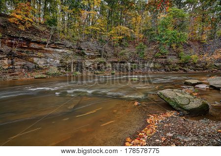 Beautiful autumn scene at the Tinker's Creek Gorge near Cleveland Ohio.