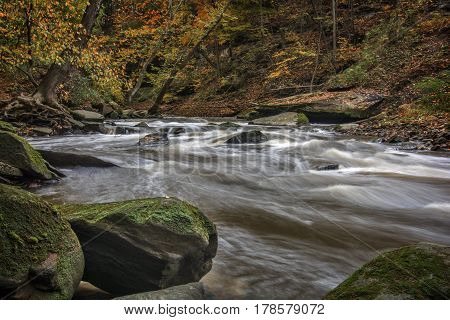Beautiful autumn scene of rapids on Tinker's Creek in Cleveland Ohio.