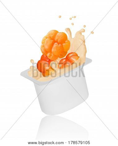 cloudberry falling into yogurt splash in plastic packing isolated on white background