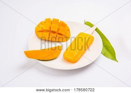mango ice candy or mango ice bar or kulfi, made up of sweet and tasty alphonso  or hapus mangos