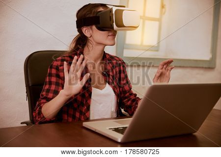 Lovely Young Woman With 3D Viewer