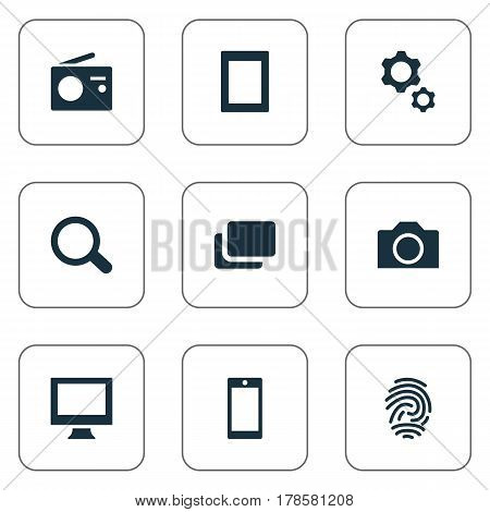 Vector Illustration Set Of Simple Hardware Icons. Elements Touch Computer, Camcorder, Fingerprint And Other Synonyms Monitor, Photographing And Thumbprint.