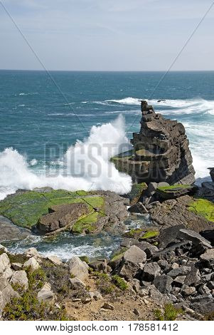 Big waves hitting the rock in Peniche, Portugal