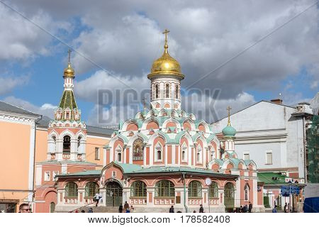 Kazan Cathedral. The Kazan Cathedral in Moscow Kremlin This small but charming Cathedral was built in the 17th century on the north side of the square near the Resurrection Gate.