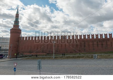 Moscow, Russia - 23 March 2017: Red Wall And Tower Of Kremlin
