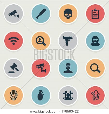 Vector Illustration Set Of Simple Crime Icons. Elements Checklist, Arrested, Investigation And Other Synonyms Alarm, Bandit And Search.