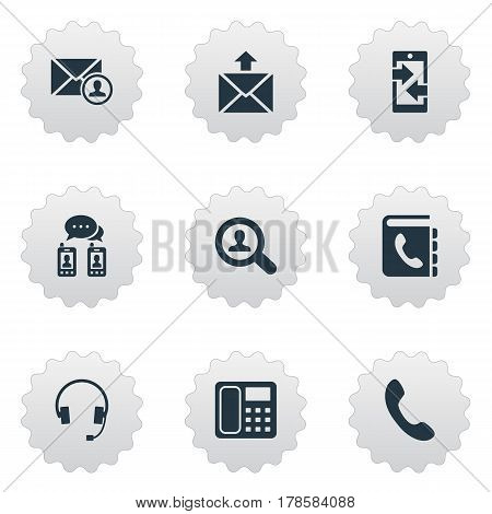 Vector Illustration Set Of Simple Communication Icons. Elements Earphone, Telephone Directory, Monitor And Other Synonyms Telephone, Author And Headphones.