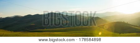 Beauty dawn in the mountains in Altay, panoramic picture