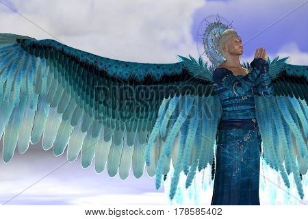 Angel Michael 3d illustration - Archangel Michael is a messenger sent by God to speak to people on Earth and leads God's armies against the forces of evil.